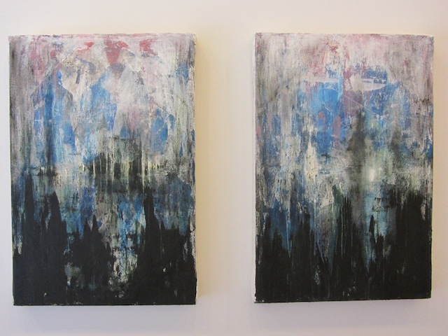 "Paul D'Agostino, ""Nocturne 9: Fonti silvestri (Sylvan Sources)"" (2013). Diptych, acrylic and charcoal on canvas, each 30 x 20 inches."