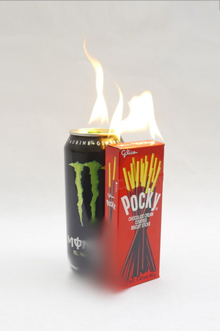 "Tumblr: where art meets the everyday. Justin Kelly's ""pocky and monster energy drink will coalesce in the presense of flame"" (2013), from the tumblelog The Jogging. (Image via thejogging.tumblr.com)"
