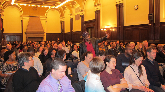 The audience at the March 7 Newark Public Library event