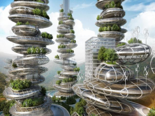 The Asian Cairns farmscrapers (Image courtesy Vincent Callebaut Architects)
