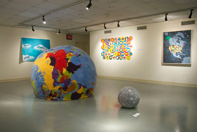 """Installation view, """"Contemporary Cartographies"""" at Lehmann College Art Gallery (photo by the author for Hyperallergic)"""