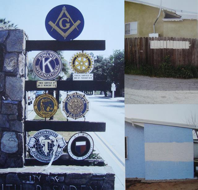 Left, City entry sign, Eagle Rock, California, right, City graffiti removal, Highland Park, California.