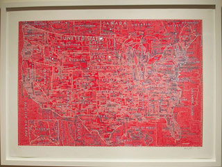 """Paula Scher, """"The United States (Red)"""" (2007), hand-pulled silkscreen on Coventry Rag, 40 x 60 in (click to enlarge)"""