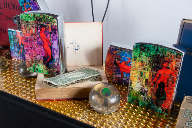 Scott Ewalt, liberty and currency (1998-2012), the devil of today burlesk bible containing currency from strippers g-string and diamond and Giant Pinup Lighters (2013) (Photo: Mr. Means; Courtesy of Participant Inc.)