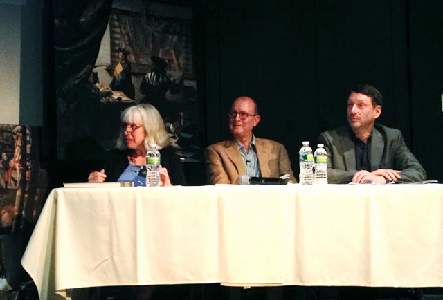 During the Vermeer's Daughter symposium, a panel of art historians, including Martha Hollander, Ivan Gaskell and James Elkins (left to right) spoke at NYU's Cantor Film Center on May 18th.