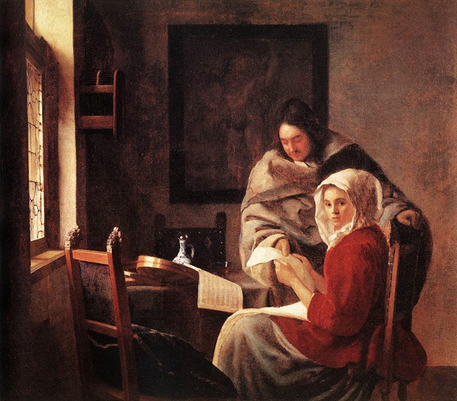 Johannes Vermeer, Girl Interrupted at her Music  c. 1660-61 oil on canvas 15 1/2 x 17 1/2 in. (39.4 x 44.5 cm) The Frick Collection, New York