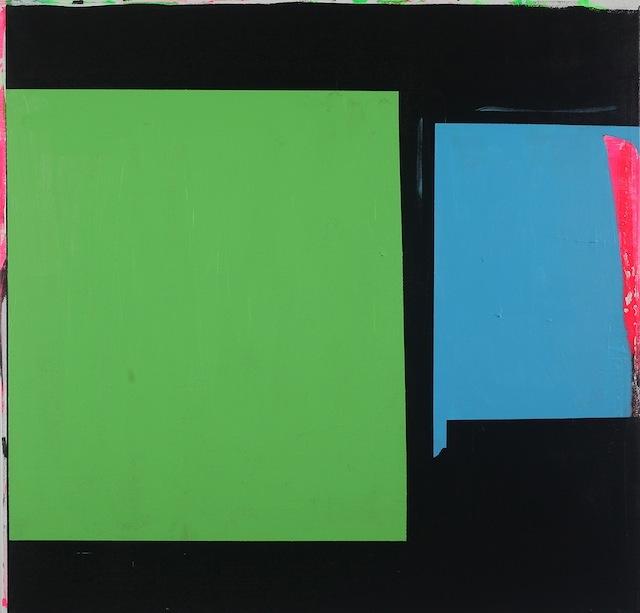 "Paul Behnke ""Blue-Green Bow Street"" (2013), Acrylic on canvas, 48 x 50 inches (Image courtesy Kathryn Markel Gallery)"