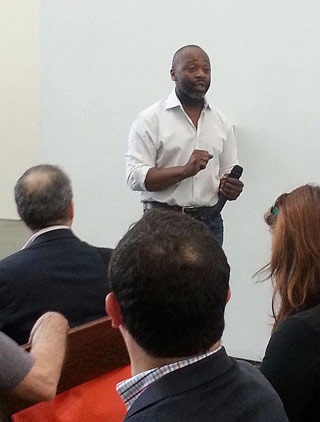 Theaster Gates speaking at the exhibition preview (click to enlarge)