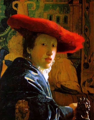 Johannes Vermeer, Girl with a Red Hat, c. 1665-1666, oil on panel 9 1/8 x 7 1/8 in. (23.2 x 18.1 cm.), The National Gallery of Art, Washington D.C. Andrew W. Mellon Collection