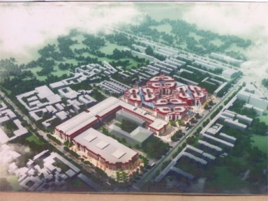 A plan for the Barkhor Shopping Mall, currently under construction.