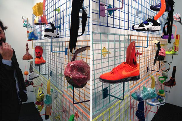 "Two views of Alex Da Corte's ""Head"" (2013) at Joe Sheftel Gallery"