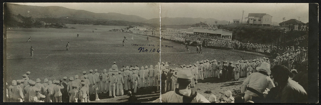 [Navy baseball game at Newport, Rhode Island] Creator(s): Moser, N. G., copyright claimant Date Created/Published: c1912. Medium: 1 photographic print (postcard) Summary: Postcard shows men in navy uniforms gathered around baseball diamond.