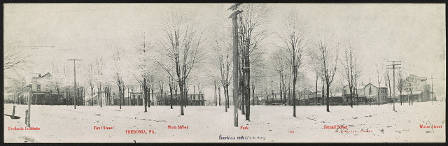 Fredonia, PA Creator(s): Moore, J. C., photographer Date Created/Published: J. C. Moore; c1908. Medium: 1 print (postcard) Summary: Postcard shows the snow covered streets of Fredonia, Pennsylvania.