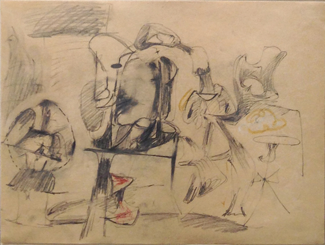 """Arshile Gorky, """"Untitled"""" (1945-47), graphite and crayon on paper, 9 ½ x 12 ½ in, one of two works by Gorky offered at Richard Gray Gallery"""
