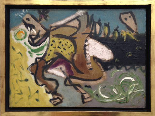 """Jackson Pollock, """"Untitled (Equine III)"""" (c. 1944), oil on canvas, 13  x 18 in, at Washburn Gallery, New York"""