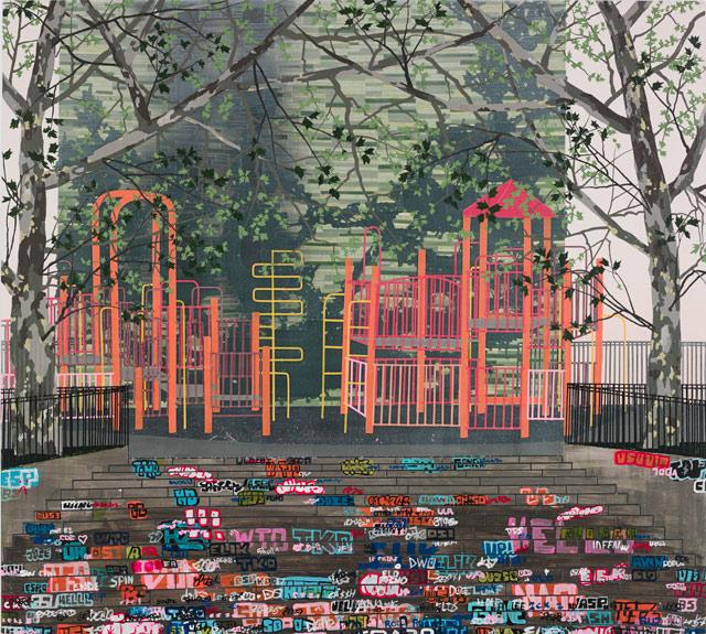 "Erik Benson, ""Playground (Steps)"" (2013), acrylic on canvas over panel, 54 x 60 / 137.2 x 152.4 cm"