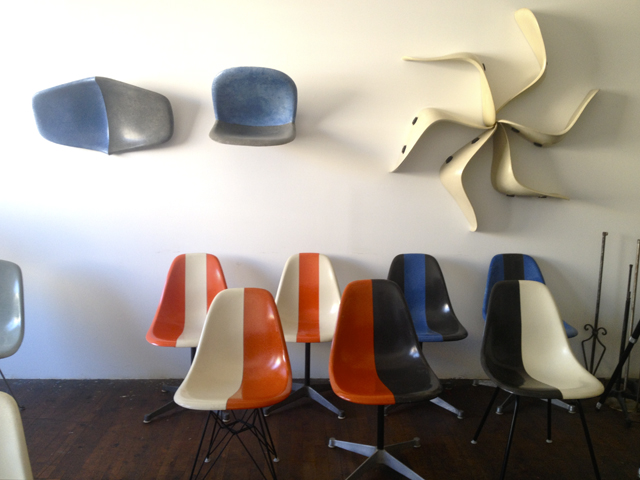 Bruce Dow's studio included reconfigurations of fiberglass chairs.
