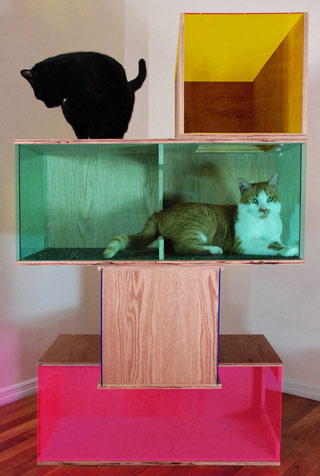 """Included in """"The Cat Show"""": Sam Roeck, """"Contemporary Art Sculpture for Cats #2"""" (2013), oak, Plexiglas, carpet, linoleum, 52 x 30 x 30 in (courtesy the artist) (click to enlarge)"""