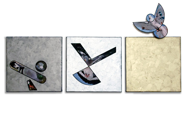 """Susan Weil, """"Escape"""" (2013), mixed media with collage on canvas and Masonite, 28 ½ x 57 x 3 ½ inches"""