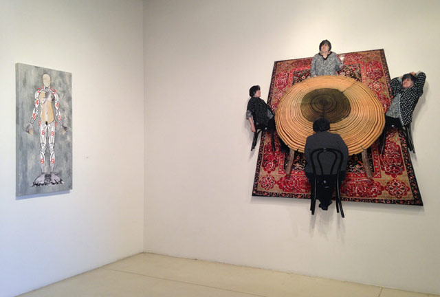 """""""Susan Weil: Time's Place,"""" installation view at Sundaram Tagore Gallery, with """"Georgia"""" (2013), left, and """"Perspectacle"""" (2013), right (photo by Jason Andrew, all images courtesy Sundaram Tagore Gallery)"""
