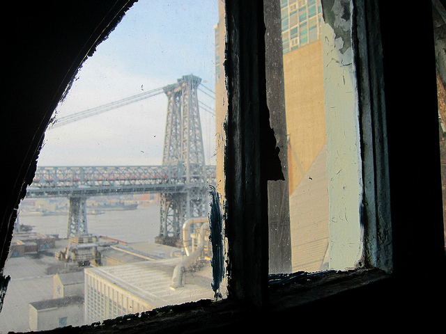 View to the Williamsburg Bridges from the Domino Sugar Factory