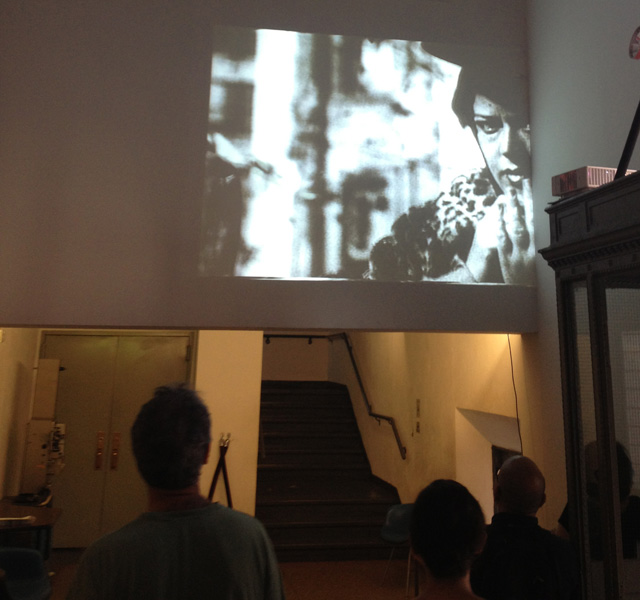 A view of the screening of Abigail Child's Perils in the lobby of Anthology Film Archives in the East Village on July 20.