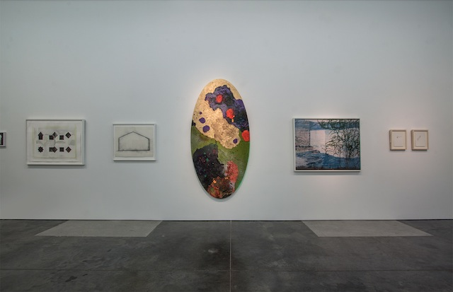 """From left to right: Roger Kraft, """"Untitled"""" (2003), pigment on paper; Adam Jones, """"Our House"""" (2010), charcoal on paper; Jim Leedy, """"Space Time,"""" (2011), mixed media on canvas; Jeremiah Ariaz, """"Latitude: 34:0789 Longitude: -118.370"""" (2007); Peregrine Honig, """"Snake Mother"""" and """"Cat Mother"""" (both 2012), ink and egg tempera on arches. Photographer credit: E.G. Schempf"""