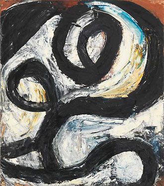 "Louise Fishman, ""Navigation"" (1981), oil on linen, 25 x 22 in"
