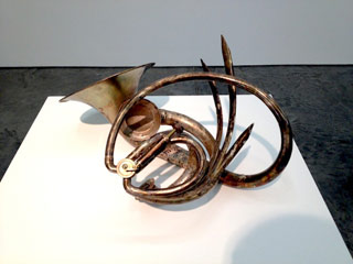 """Mark Southerland, """"Preying Horn Ground Flower"""" (2008), brass, silver plating, 24 x 12 x 12 in (click to enlarge)"""