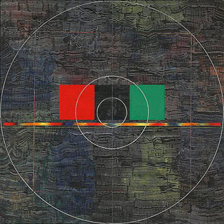 """Jack Whitten, """"Red, Black, Green"""" (1979–80), acrylic and string on canvas, 64 x 64 in"""