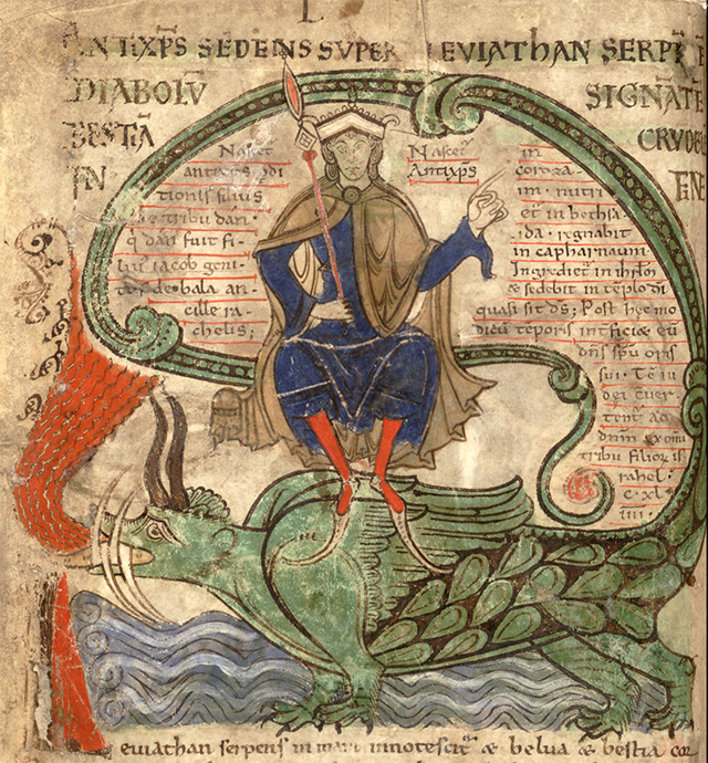 """The Antichrist on the Leviathan, from """"Liber Floridus"""" (1120). Illuminated medieval manuscripts regularly used Iris Green. (via Google Books)"""