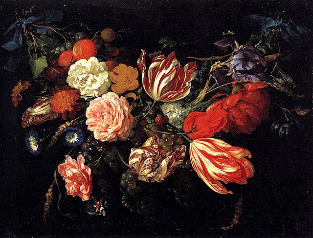 """Detail of Jan Davidsz. de Heem's """"Festoon with Flowers and Fruit"""" (1660s), oil on panel, said to have been painted with orpiment (via Wikimedia)"""
