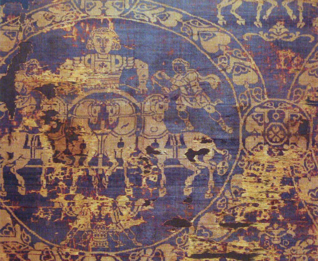 Burial Shroud of Charlemagne (early 9th century), made of Byzantine silk colored with Tyrian Purple (via Wikimedia)