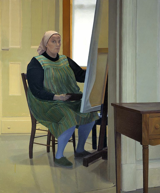 """Catherine Murphy, """"Self Portrait at Easel"""" (1973)"""