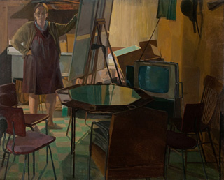 """Catherine Murphy """"Self Portrait with Poker Table (1969)"""