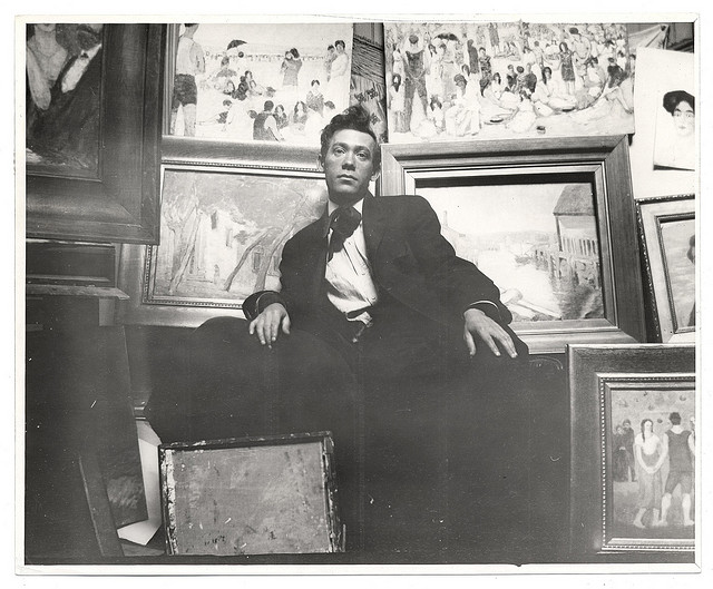 Abraham Walkowitz in his studio (ca. 1908) (photograph by Carl Shulman, via Smithsonian Institution)
