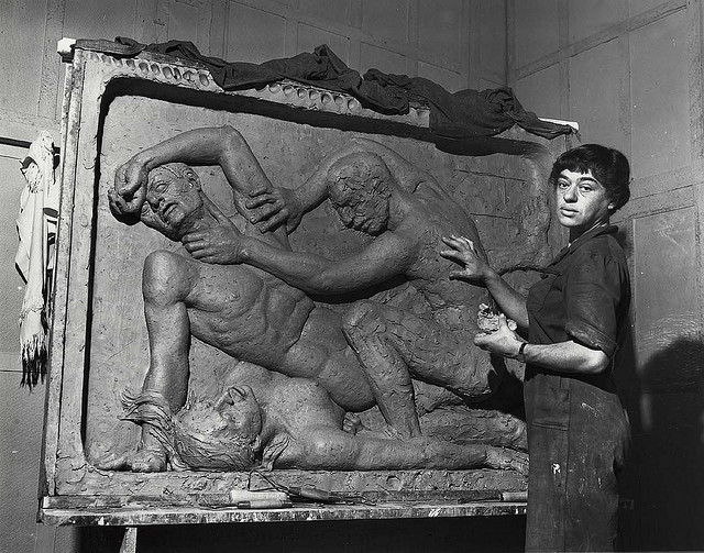 Sculptor Helene Sardeau in her studio (photograph by Peter A. July & son, via Smithsonian Institution)