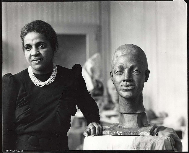 Sculptor Selma Hortense Burke in her studio (photograph by Peter A. July & Son, via Smithsonian Institution)