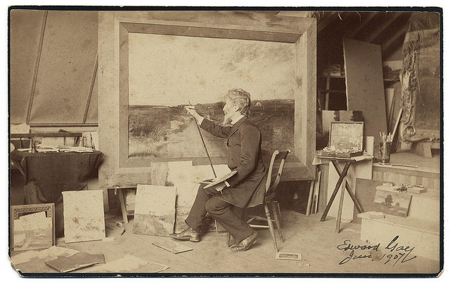 Painter Edward Gay in his studio (ca. 1907) (via Smithsonian Institution)