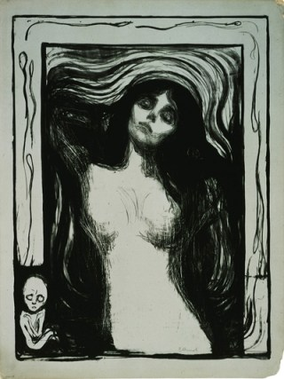 """Edvard Munch, """"Madonna"""" (1895/1897-1898), lithograph in black on green card (Epstein Family collection © 2013 The Munch Museum / The Munch-Ellingsen Group / Artists Rights Society, New York)"""