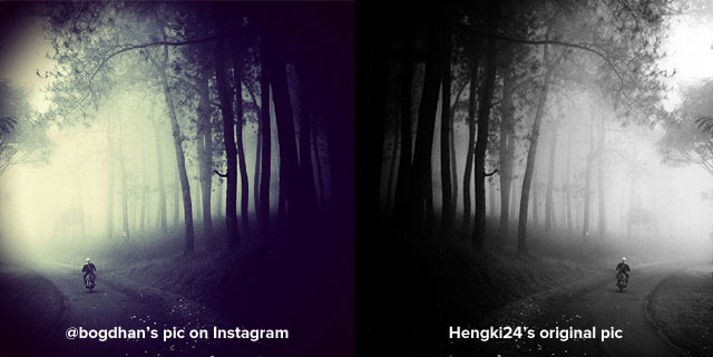 """The """"winning"""" photograph by Instagram user @bogdhan (left) is obviously a filtered version of (images via Instagram and Deviant Art)"""
