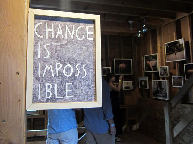 "Shannon Finnegan, ""Both: Change is impossible / Change is inevitable"" (2012), pen in custom frame"