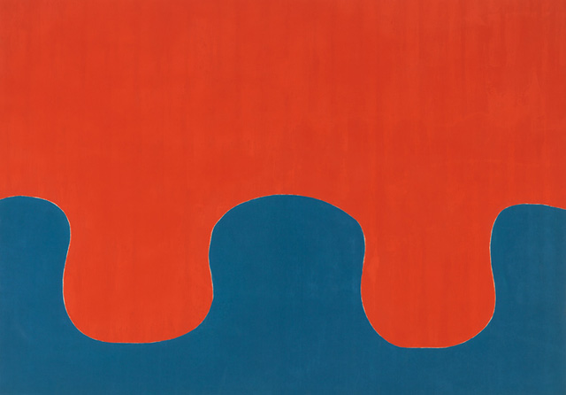 """Paul Feeley, """"Untitled (January 12)"""" (1962) oil-based enamel on canvas, 58 x 81 inches"""
