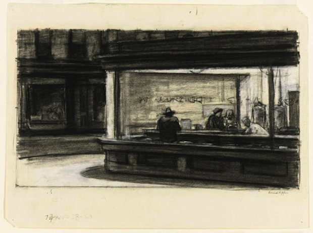 "One of Edward Hopper's studies for ""Nighthawks"" (c.1941 or 1942) (image via Whitney Museum)"