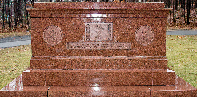 Jim Thorpe's tomb in Jim Thorpe, Pennsylvania (photograph by Charles Tilford)