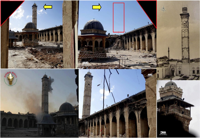 The U.S. State Department compiled images of the damaged medieval minaret at the Great Mosque in Aleppo. The minaret, which was built in 1090 CE, was destroyed by shelling on April 24, 2013.