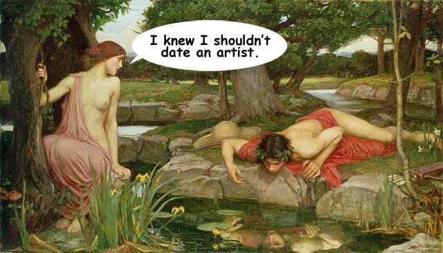"Original work is John William Waterhouse's ""Echo and Narcissus"" (1903) (via Wikipedia)"