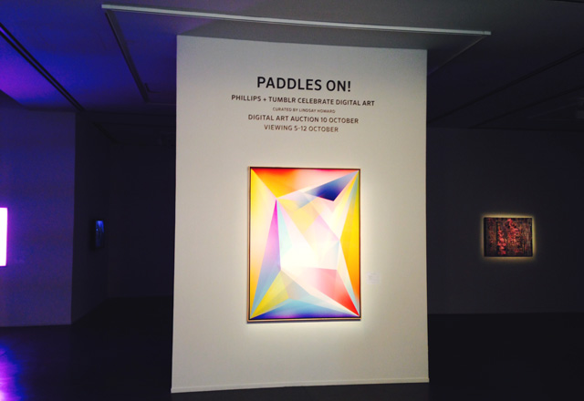 A view of the Paddles On exhibition at Phillips's headquarters on Park Avenue (photo by the author for Hyperallergic)