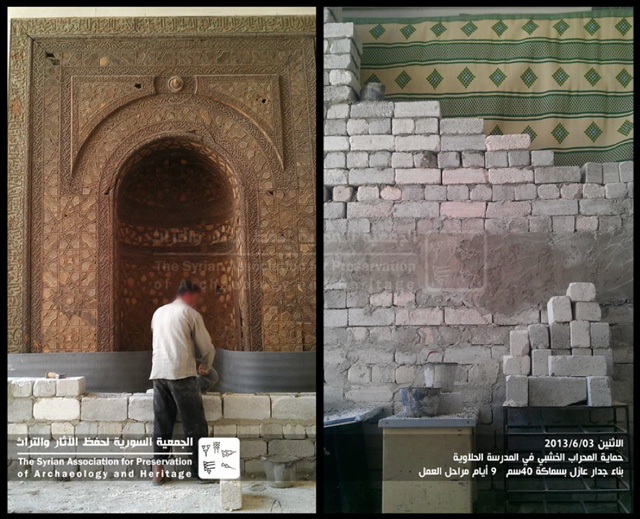 These slides demonstrate how conservationists are working to preserve the historic heritage in Syria. Here a conservation worker is covering a historian wooden mihrab (prayer niche) with a 40cm deep protective wall. The project took nine days.