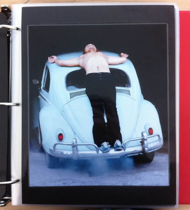 """Chris Burden, """"Trans-fixed"""" (April 23, 1974). Performance, Venice, California. Documentary photograph in three-ring binder. (all photos by the author for Hyperallergic)"""